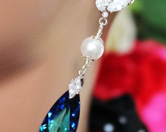 Long Crystal Blue Wedding Earrings, Bermuda Blue Bridal Earrings, Long Blue Crystal Drop Earrings, Bridal Accessories, Beach Wedding Jewelry