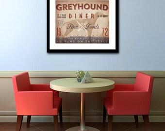 Greyhound Diner Kitchen Chef dog illustration artwork UNFRAMED giclee signed print by Stephen Fowler