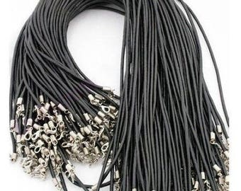 1 black leather necklace with lobster clasp and Extender chain