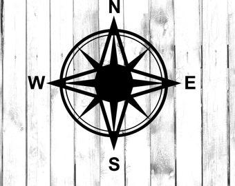 Compass - North East South West - Di Cut Decal - Home/Laptop/Computer/Truck/Car Bumper Sticker Decal