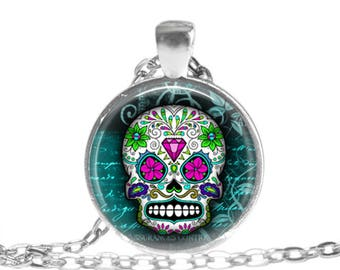 Sugar Skull Necklace Skull Jewelry Day of the Dead Halloween Necklace Gothic Necklace Sugar Skull gift Dia de Los Muertos Mexican skull gift