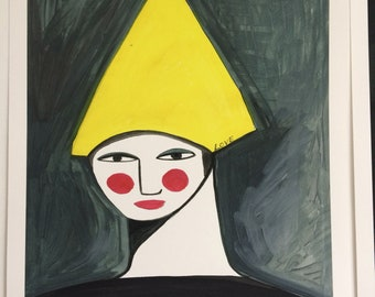 Lady in yellow hat.