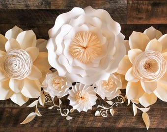 Paper Flower Backdrop, Giant Paper Flowers, Wedding Centerpiece, Paper Flowers, Wedding Backdrop