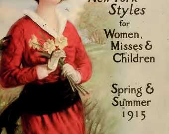 pdf download of 1915 Perry and Dame fashion catalog ladies and children loads of line and colour drawings