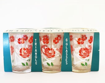 NEW in Box  - Vintage Set of 6 - Drinking Glasses - Juice - Water tumblers - Floral design. 60's Era