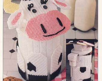 Cow Canister ~ plastic canvas pattern