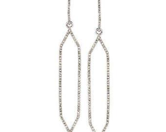 Diamond hexagon geometric dangle earrings