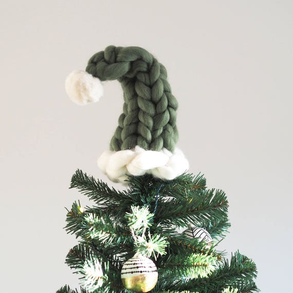 Christmas Tree Topper   Chunky Knit Elf Hat Tree Topper   Merino Wool    Giant Yarn   Giant Knit   Chunky Hand Knitted Christmas Elf Hat Xmas