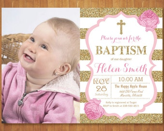 Pink and Gold Baptism Invitation with Photo Girl Christening