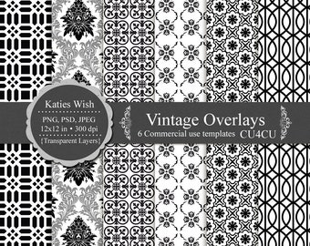 Vintage overlays digital template kit commercial use png, psd, jpg  instant download file