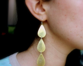 Brass Tear Drop Dangle Earrings- Handmade by Rachel Pfeffer