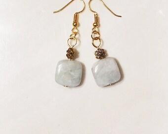 Amazonite earrings, Amazonite stone rectangle dangling earrings