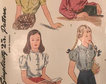 Vintage Simplicity  1183 Girls Blouse Pattern Size 8