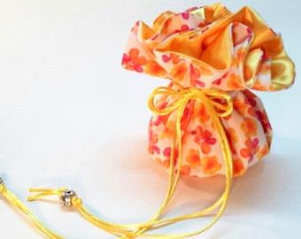 Drawstring Jewelry Bag / Pink Yellow & Orange Floral Print / Bright Yellow Satin Travel Jewelry Case / Jewelry Organizer