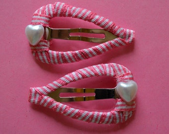 Hair Accessories - Handmade -  2 Pink Stripe,Ribbon Wrapped, Heart Shape Snap Clips -  Embellished With a Pearl Heart
