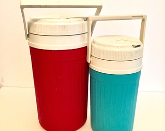 Pair Igloo Thermos Set / Red Thermos / Blue Thermos / Great Condition / by Igloo