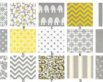 Gray and Yellow Custom Crib Bedding Set  YOU DESIGN  - Yellow and Gray