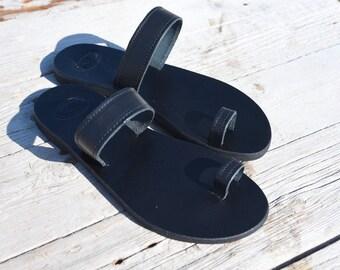 Sandales noires, sandales en cuir, sandales grecques, sandales à la main, sandales, sandales gladiateur d'été, sandales, sandales femmes, tongs romain