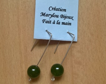 Modern earrings in silver and green agate.