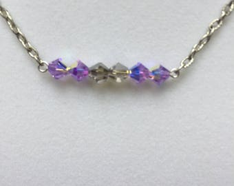 Lavender Beaded Bar Necklace