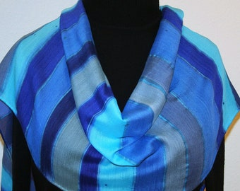 Hand Painted Silk Wool Scarf. Blue Turquoise Gray Handmade Silk Wool Scarf MOON PATH, Silk Scarves Colorado, Select Your SIZE! Birthday Gift