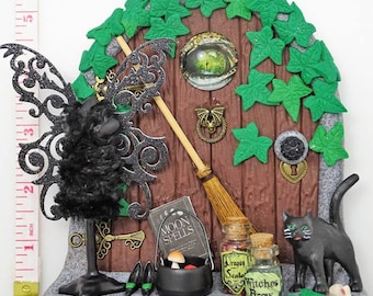 Witch Themed Fairy Door, Halloween, potions, spells, black cat witch, pagan. wizard, mannequin, dragon eye