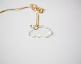 cloud necklace - clear - cloud charm clouds necklace pendant cloud shaped necklace i heart clouds nature lover
