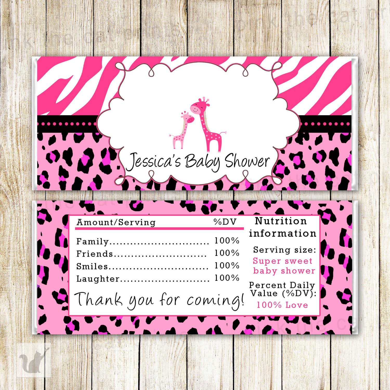 Pink Giraffe Candy Bar Wrapper Giraffe Baby Shower Candy Bar