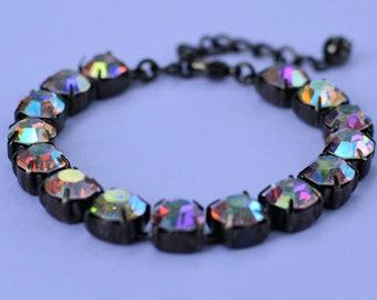 Swarovski Crystal AB 8mm 15 crystal bracelet, adjustable w/extension and lobster clasp