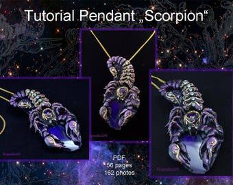 Jewelry tutorial PDF tutorial pendant scorpio Polymer clay pendant tutorial fantasy  Scorpio pendant Polymer clay diy Jewelry necklace pdf