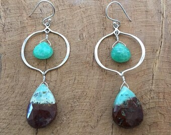 Chrysoprase Earrings | Sterling Silver Earrings | Chandelier Earrings | Bohemian Earrings | Gemstone Earrings