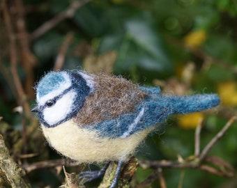 Needle Felt Blue Tit Bird Sculpture