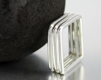 Sterling Silver Square Ring, Stacking Ring, Geometric Ring