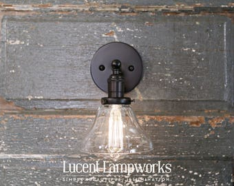 Clear Glass Open Shade Sconce Fixture - 6 Inch