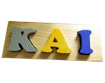 Solid Wood Custom Name Puzzle - 3 letter Solid Wood Toddler Name Puzzle - Toddler Name Puzzle