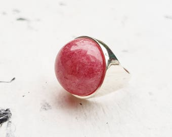 Rhodonite Silver Ring, 925 Sterling Silver Ring, Cabochon Ring, Handmade Ring, Round Ring, Large Pink Ring, Gem Jewelry Gift, Fashion Ring