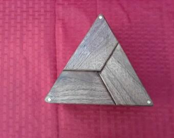 Keepsake box, bandsaw box, cherry and walnut box, triangle box