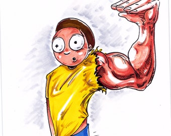 Morty with Armothy original sketch from the cartoon Rick and Morty