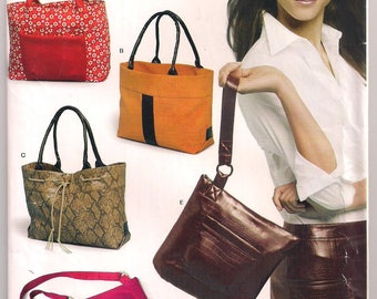 Tote Bag Pattern NewLook 6425 Wristlet Shoulder Bag Shopping Tote Workbag School Bag Craft Pattern Uncut