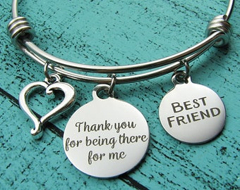 best friend gift, friendship bracelet, bff gift, besties jewelry, thank you for being there for me, friends birthday graduation gift