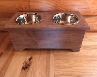 Rustic dog Bowl Stand- Elevated Dog Feeder- Elevated Dog Bowls-Raised Dog Bowl-Raised dog Feeder- Pet Bowl Stand