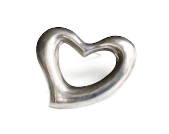 Mexican Sterling Silver Puffy Heart Brooch - Silver 925, Mexico TV 40, Large Brooch, Statement Jewelry, Vintage Jewelry, Vintage Brooch