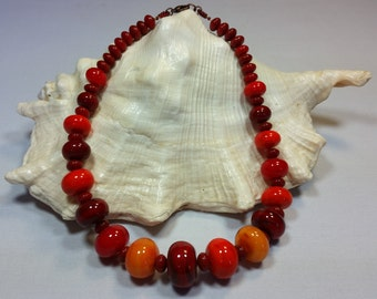 murano glass necklace, red color, lampwork, handmade