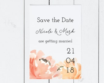 Printed Save the Date Cards with Peach Flowers and Script Font | Simple Wedding Save the Date Invitation | Engagement Announcement
