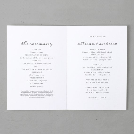 Printable Wedding Program Template Instant Download