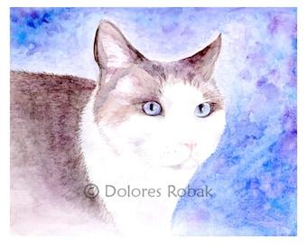 Snowshoe Cat Painting, Cat Watercolor Print, Cat Art Print, Watercolor Cat Print, Cat Picture, Cat Wall Art, Cat Art, Cat Lover Gift Pet Art