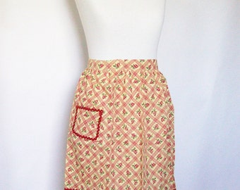 Vintage Half Apron Yellow & Red Dotted Swiss Cotton Kitchen Linens