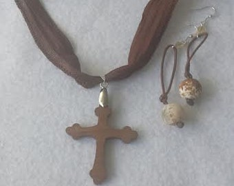 Brown choker set with wood cross  Free shipping!