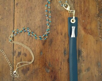Classic Gold & Navy leather vape pen holster w necklace keeps oil pen vertical