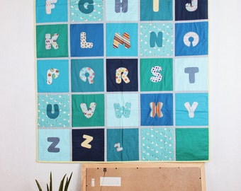 Alphabet baby quilt, baby blanket, wall hanging, playmate, modern design baby blanket, alphabet, baby